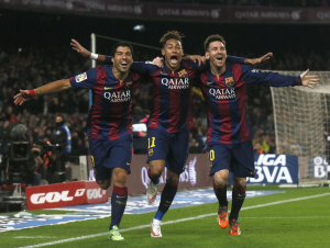 Neymar Barcelona with Suarez and Messi